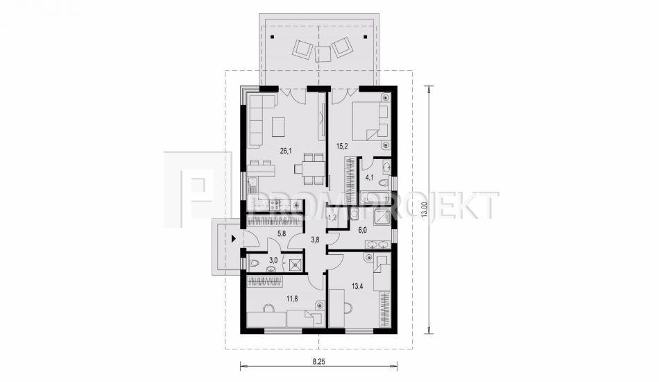 Projekty bungalov laguna 18n for Floor plans for 160 000